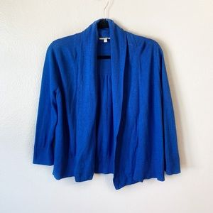 Eileen Fisher Blue Open Front Knit Cardigan Cotton